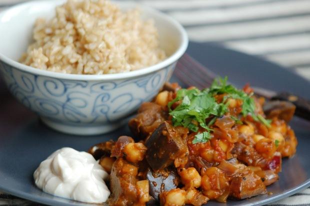 Aubergine chickpea curry