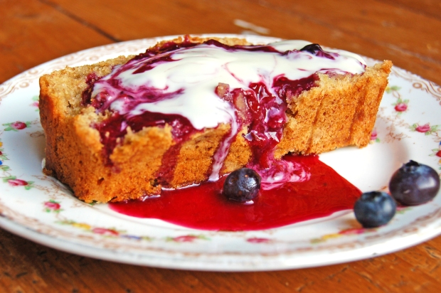 Banana Bread with Blueberry Orange Sauce